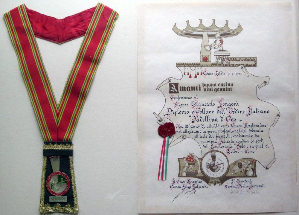 Diploma collare ordine padellina oro